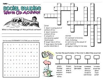 Social Studies Review Worksheet 7th Grade Georgia GPS