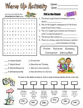 Social Studies Review Handout Timeline 7th Grade GPS