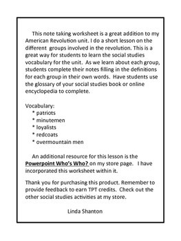 Revolutionary War Interactive Note Taking - Social Studies
