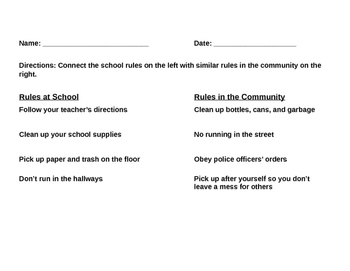 Social Studies Rules at School and in the Community Worksheet
