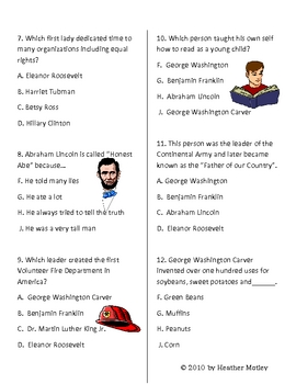 Social Studies SOL 1.2: Famous American Leaders Test and Guide