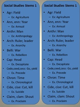 Social Studies STEM, ROOT and BASE words for Common Core M