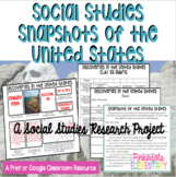 Social Studies Snapshots! A Google Classroom or Print SS/ELA/Tech Project.