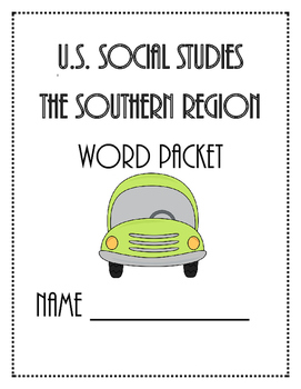 Social Studies - Southern US Vocabulary Builder Packet