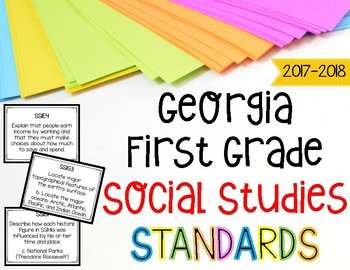 Social Studies Standards Posters for First Grade Georgia Standards of Excellence