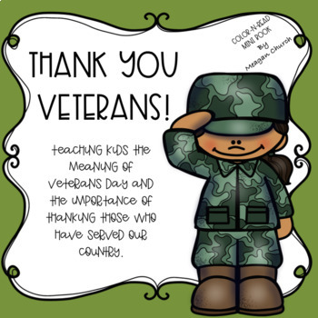 Social Studies Story 2 Veterans Day Color N Read Mini Book