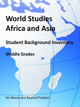Social Studies Student Inventory Africa and Asia - First Week Activity