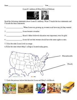 Social Studies: Susan B. Anthony & Mary Bethune Worksheet