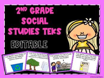 Social Studies TEKS *EDITABLE* Posters for Second Grade
