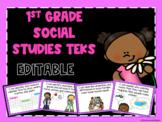 Social Studies TEKS Posters for First Grade *EDITABLE*