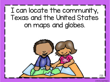 Social Studies TEKS Posters for First Grade *EDITABLE*
