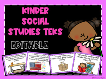 Social Studies TEKS Posters for Kindergarten