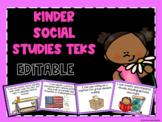 Social Studies TEKS Posters for Kindergarten-Editable