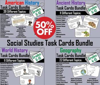 Social Studies Task Cards Bundle: Ancient, World, American History and Geography