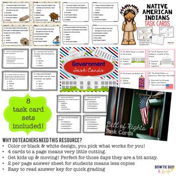 Social Studies Task Cards Bundle for Third Grade