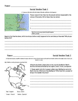 Social Studies Task Cards - Colonization