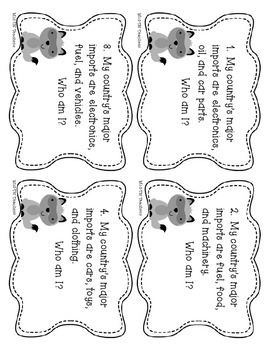Social Studies Task Cards Imports and Exports