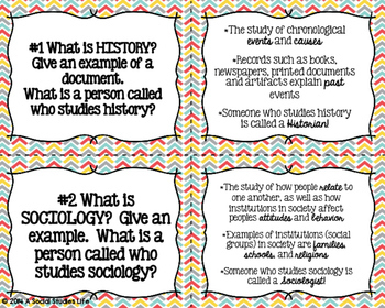 Social Studies Task Cards and Recording Sheet