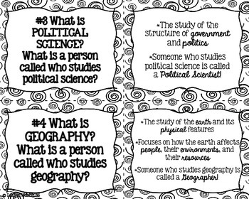 Social Studies Task Cards and Recording Sheet - Black and White
