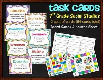 Social Studies Task Cards with Games for 7th Grade GA