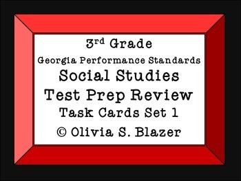 Social Studies Test Prep Review Task Cards Set 1 3rd grade GPS