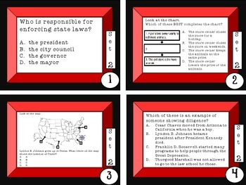 Social Studies Test Prep Review Task Cards Set 2 3rd grade GPS