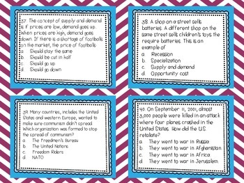 Social Studies Test Prep: Task Cards for All Domains {Differentiated}