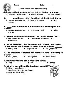 Social Studies Test Quiz President's Day