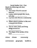 Social Studies Test for 3rd grade