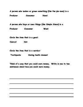 Social Studies Economies worksheet