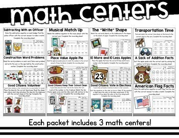 Social Studies Themed Math and Literacy Centers