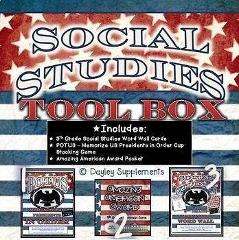 Social Studies Tool Box - 5th Grade - Game, Project, Word Wall BUNDLE