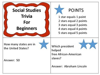 Social Studies Trivia for Beginners---50 Question and Answer Cards