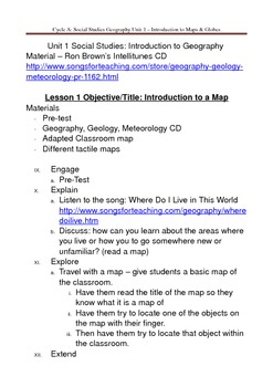 Social Studies U. S. Geography - Introduction to Maps & Globes