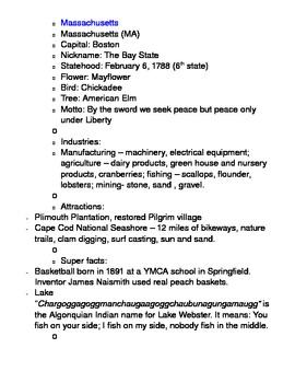 Social Studies U. S. Geography Regional Information Packet - Northeast