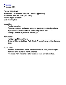 Social Studies U. S. Geography Regional Information Packet - Southeast