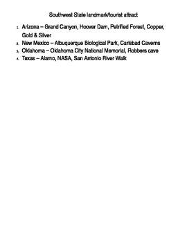 Social Studies U. S. Geography Regional Information Packet - Southwest