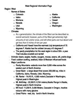 Social Studies U. S. Geography Regional Information Packet - West