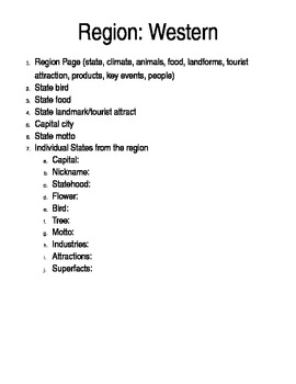 Social Studies U. S. Geography Regional Information Packet - West