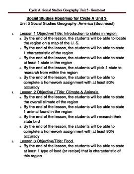 Social Studies U. S. Geography - Southeast Region Unit Plan