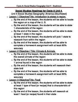 Social Studies U. S. Geography - Southwest Region Unit Plan