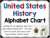 Social Studies (US History) Alphabet Chart Cards - In Cursive and Print