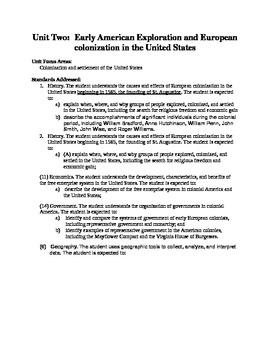 Social Studies Unit 2: American Colonization