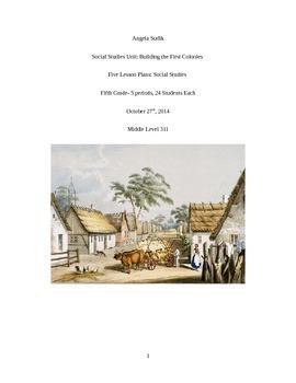 Social Studies Unit: Building the First Colonies
