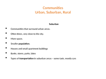 Social Studies - Urban, Suburban, Rural