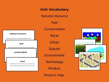 Social Studies: Using our Resources *Vocabulary Cards*