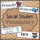 Social Studies Vocabulary Cards Kindergarten