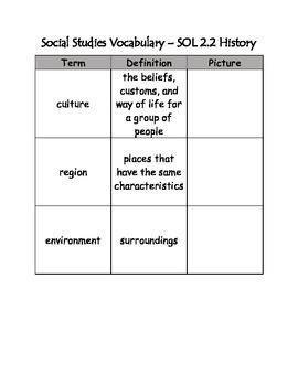 Social Studies Vocabulary - 2nd Grade Virginia SOLs