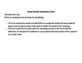 Social Studies Vocabulary Cards