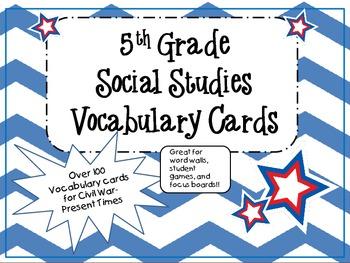 Social Studies Vocabulary Cards-5th Grade